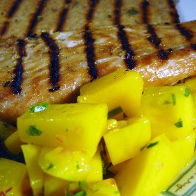 Teriyaki Mahi Mahi with Mango Salsa #SundaySupper