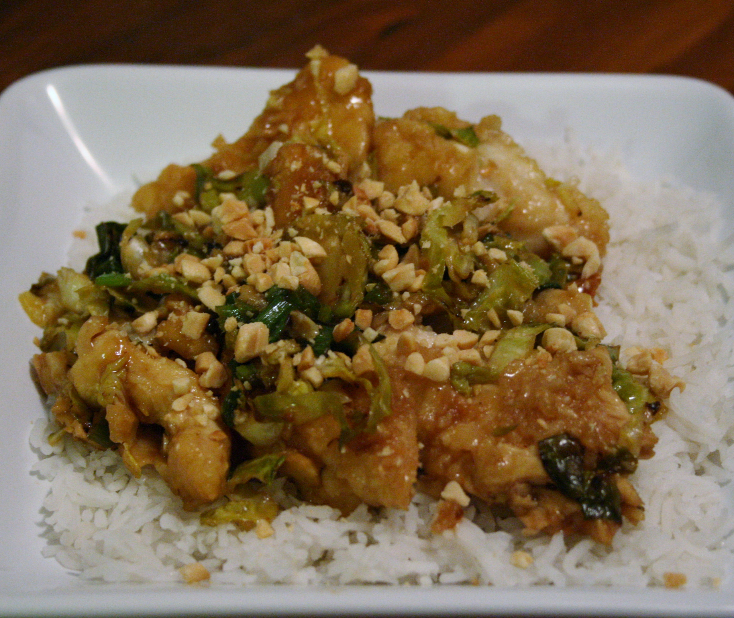Spicy Asian Chicken with Brussels Sprouts