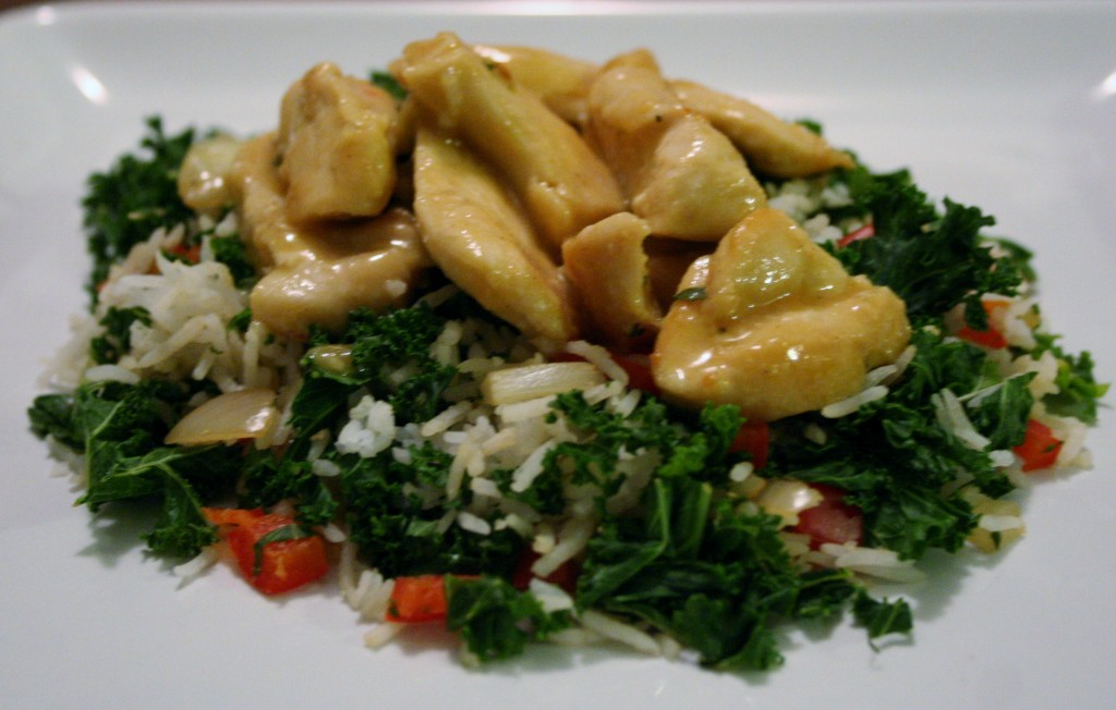 Honey Mustard Chicken with Kale Pilaf