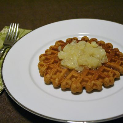 Gingerbread Waffles with Pear Sauce