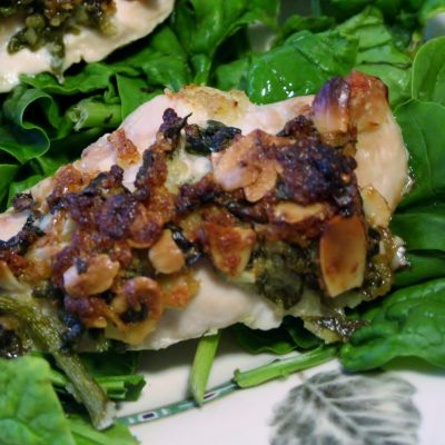 Spring-Inspired Spinach & Almond Topped Chicken