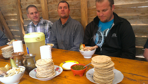 Stacks of tortillas and wonderful soup for lunch in Guatemala