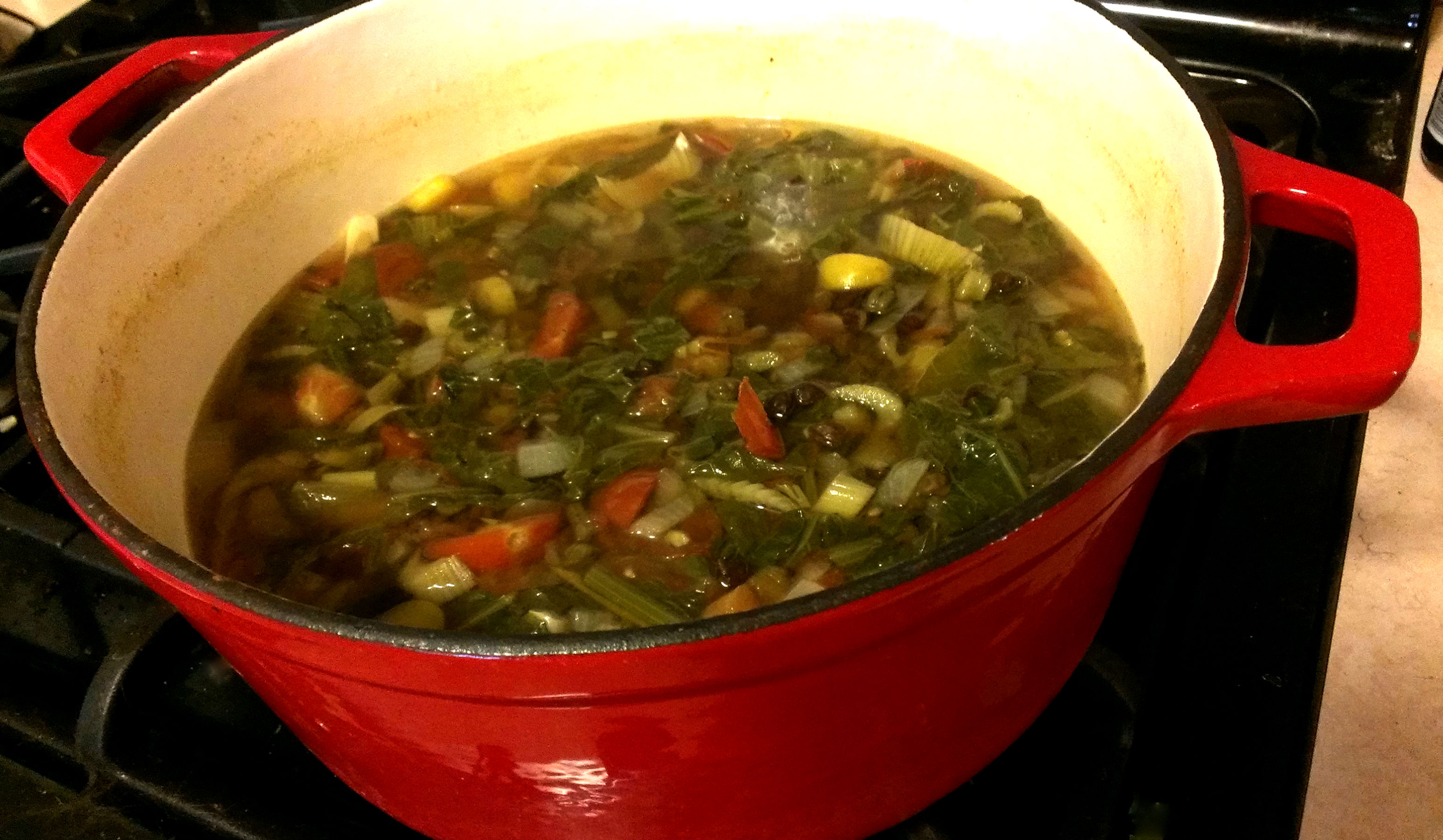 Lentil Soup with Mustard Greens