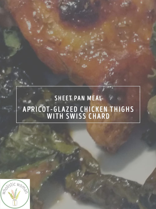 Apricot-Glazed Chicken Thighs with Kale {Sheet Pan Meals}