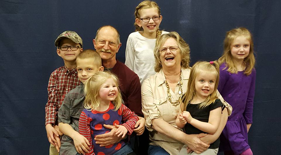 My  mom and dad and their grandkids