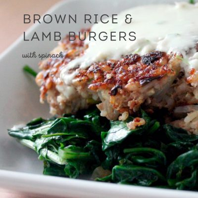Brown Rice & Lamb Burgers with Spinach #SundaySupper