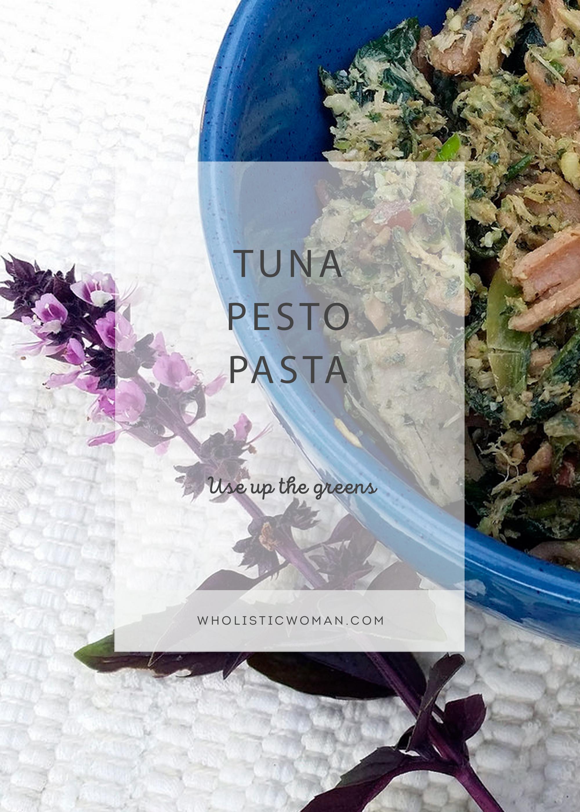 Use Up the Greens Tuna Pesto Pasta Salad