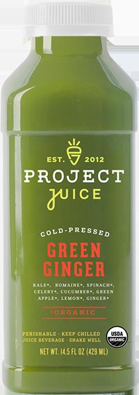 Kale, Romaine, Spinach, Celery, Cucumber, Green Apple, Lemon, Ginger.