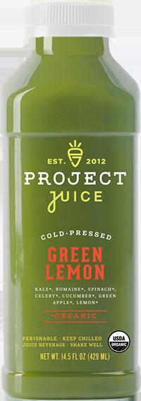 Kale, Romaine, Spinach, Celery, Cucumber, Green Apple, Lemon.