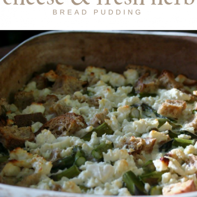 Asparagus, Goat Cheese, and Fresh Herb Bread Pudding #SundaySupper